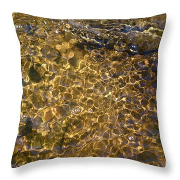 Throw Pillow featuring the photograph Liquid Gold     Water Abstract by Sandra Updyke