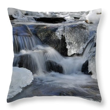 Throw Pillow featuring the photograph Winter Waterfall In Maine by Glenn Gordon