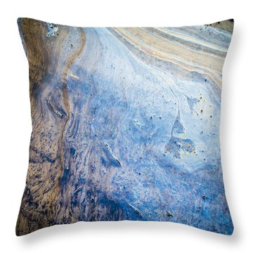 Liquid Oil On Water With Marble Wash Effects Throw Pillow