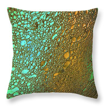 Liquid Turquoise Gold Throw Pillow by Bruce Pritchett