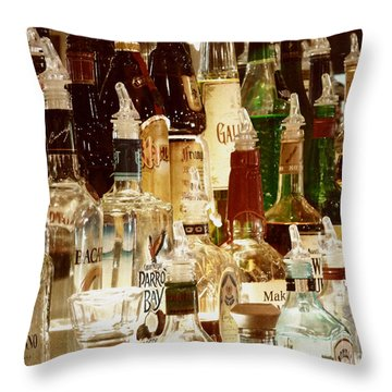 Liquor Bottles Throw Pillow by Methune Hively