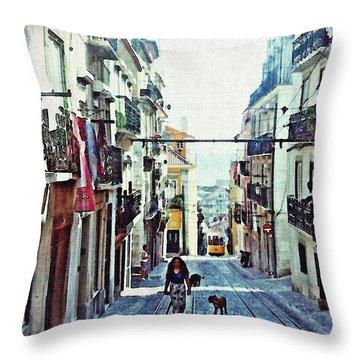 Lisboa Tram Route Throw Pillow by Sarah Loft
