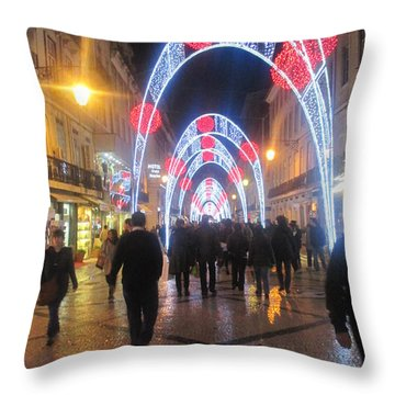 Lisbon By Night With New Year Decorations Throw Pillow