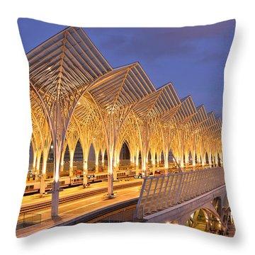 Throw Pillow featuring the photograph Lisbon Gare Do Oriente by Marek Stepan