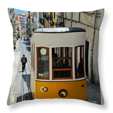Lisbon - Portugal - Elevador Da Bica Throw Pillow