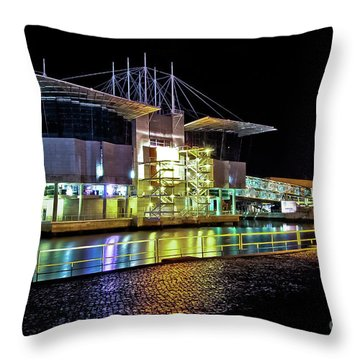 Lisbon - Portugal - Oceanarium At Night Throw Pillow