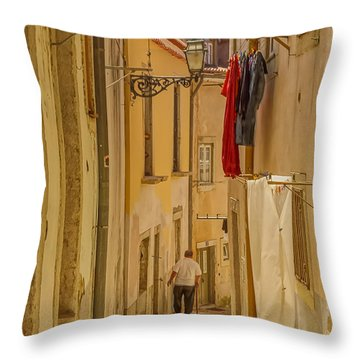 Lisbon Street # 1 Throw Pillow