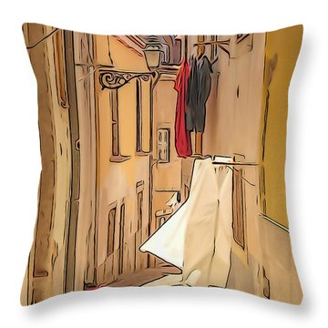 Lisbon Street #2 Throw Pillow