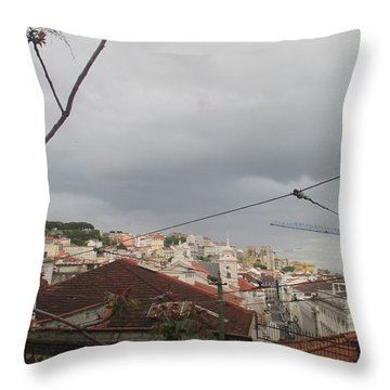 Lisbon Tram Passing Down The Street Throw Pillow
