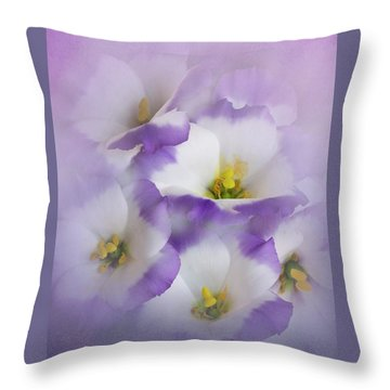 Throw Pillow featuring the photograph Lisianthus Grouping by David and Carol Kelly