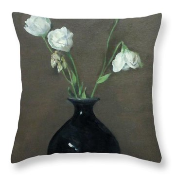 Lisianthus In Black Vase Throw Pillow