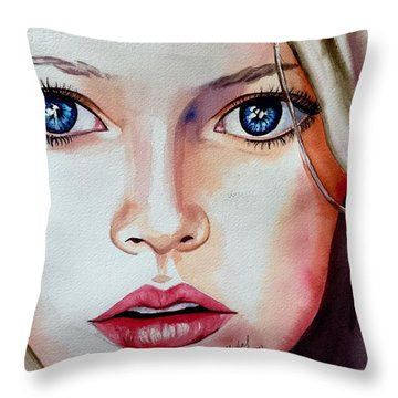 Throw Pillow featuring the painting Listen by Michal Madison