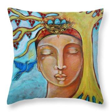 Listening Throw Pillow by Shiloh Sophia McCloud