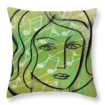 Throw Pillow featuring the painting Listening To Music by Leon Zernitsky