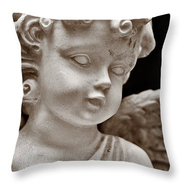 Little Angel - Sepia Throw Pillow by Christopher Holmes