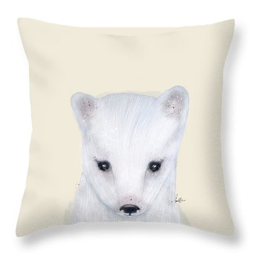 Throw Pillow featuring the painting Little Arctic Fox by Bri B