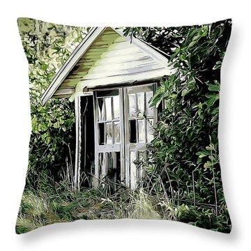 Little Barn Throw Pillow by Erica Hanel