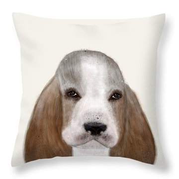 Throw Pillow featuring the painting Little Basset Hound by Bri B