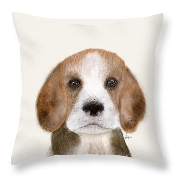 Throw Pillow featuring the painting Little Beagle by Bri B