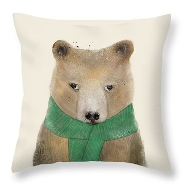 Throw Pillow featuring the painting Little Bear Brown by Bri B