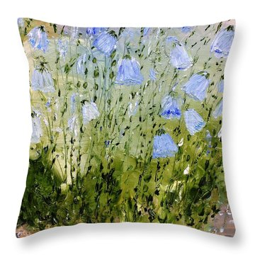 Throw Pillow featuring the painting Little Bells by Evelina Popilian