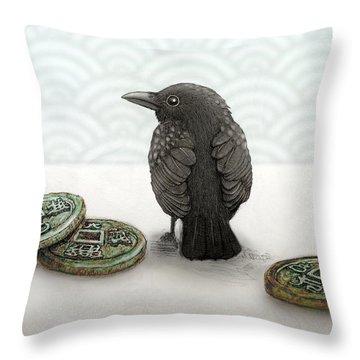 Little Bird And Coins Throw Pillow