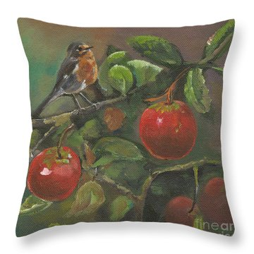 Little Bird In The Apple Tree Throw Pillow