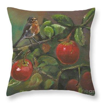 Little Bird In The Apple Tree Throw Pillow