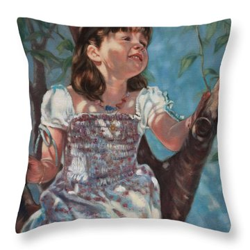 Throw Pillow featuring the painting Little Bird Watcher by Harvie Brown