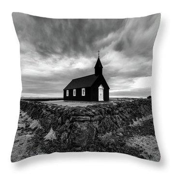 Little Black Church 2 Throw Pillow