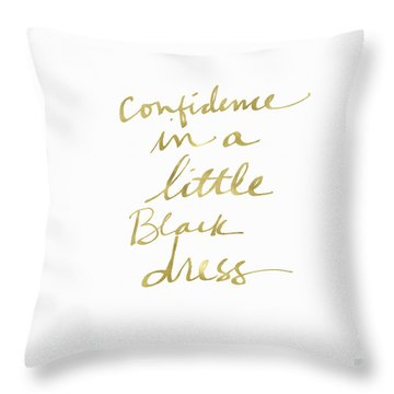 Little Black Dress Gold- Art By Linda Woods Throw Pillow