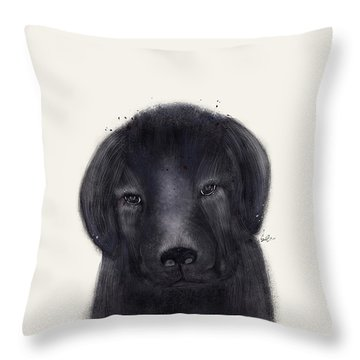 Throw Pillow featuring the painting Little Black Labrador by Bri B