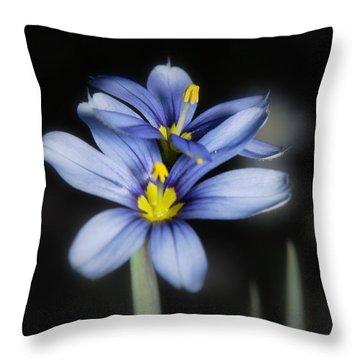 Little Blue Flowers Throw Pillow by Karen Musick