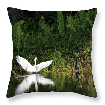 Little Blue Heron Non-impressed Throw Pillow