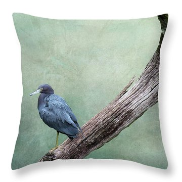 Little Blue Heron On Green Throw Pillow