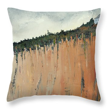 Little Blue House On The Cliff Throw Pillow