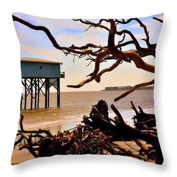 Little Blue Hunting Island State Park Beaufort Sc Throw Pillow