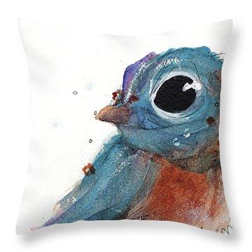 Throw Pillow featuring the painting Little Bluebird by Dawn Derman