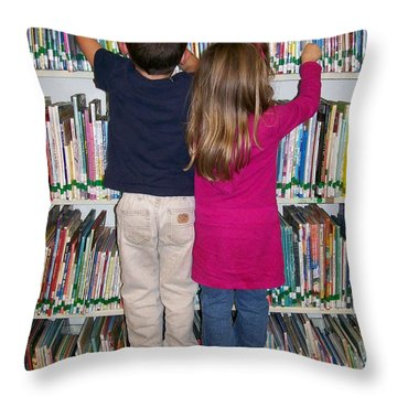 Little Bookworms Throw Pillow
