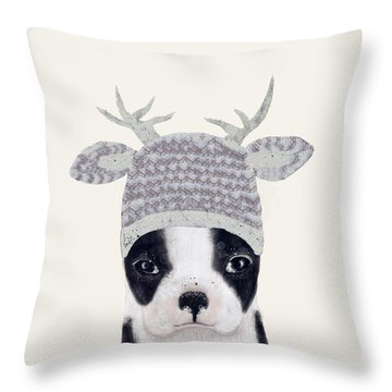Throw Pillow featuring the painting Little Boston Deer by Bri B