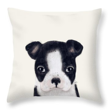 Throw Pillow featuring the painting Little Boston Terrier by Bri B