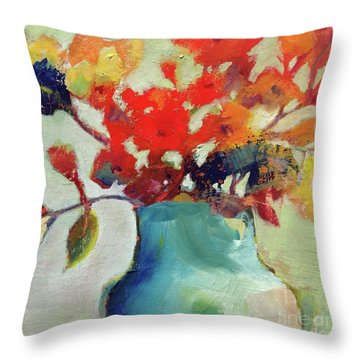 Throw Pillow featuring the painting Little Bouquet by Michelle Abrams