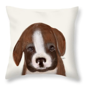 Throw Pillow featuring the painting Little Boxer by Bri B