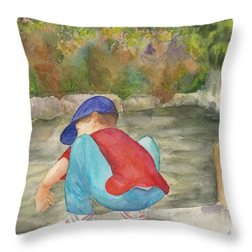 Little Boy At Japanese Garden Throw Pillow by Vicki  Housel