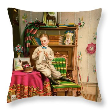 Little Boy Barry Throw Pillow