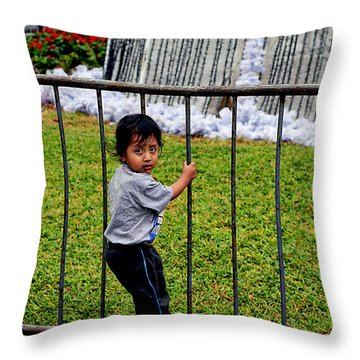 Little Boy In Peru Throw Pillow