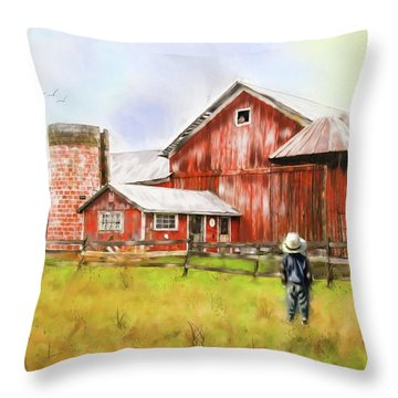 Little Boy On The Farm Throw Pillow