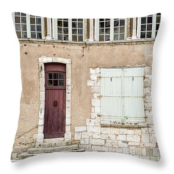Throw Pillow featuring the photograph Little Brown Door by Melanie Alexandra Price