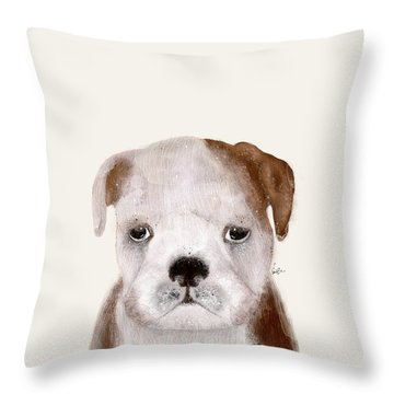 Throw Pillow featuring the painting Little Bulldog by Bri B