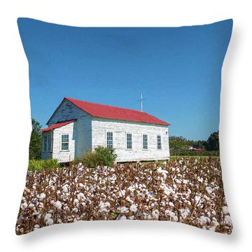 Throw Pillow featuring the photograph Little Church In The Cotton Field by Bonnie Barry